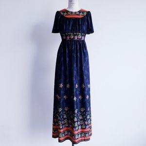 Vintage 70s Black Floral Maxi Dress